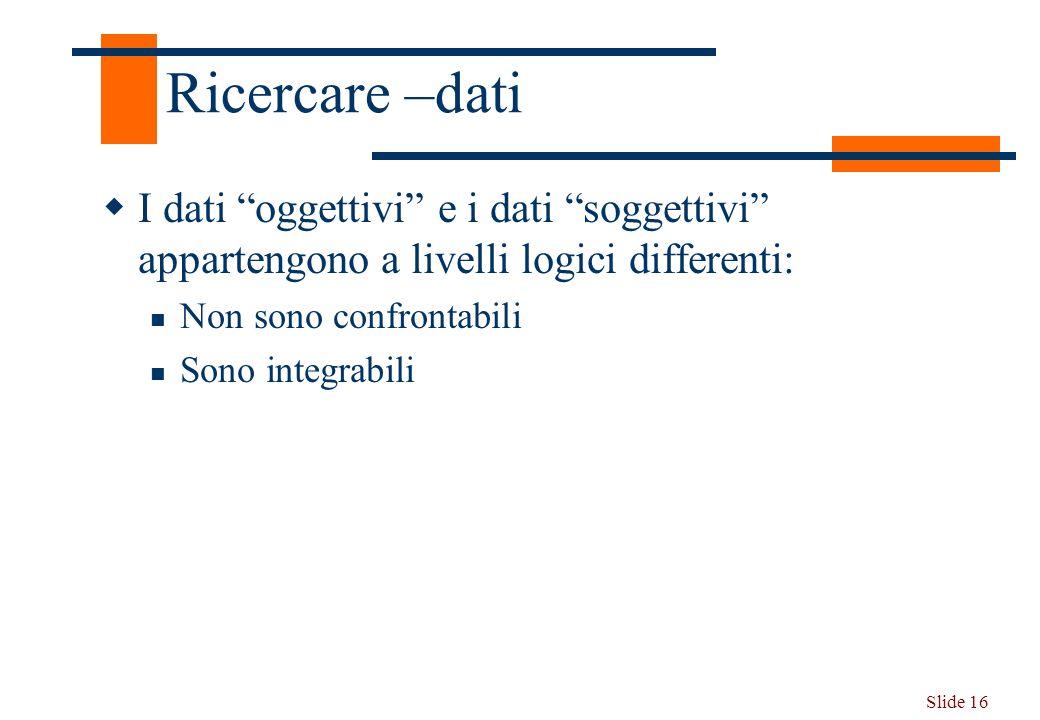 Slide 16 Ricercare –dati I dati oggettivi e i dati soggettivi appartengono a livelli logici differenti: Non sono confrontabili Sono integrabili