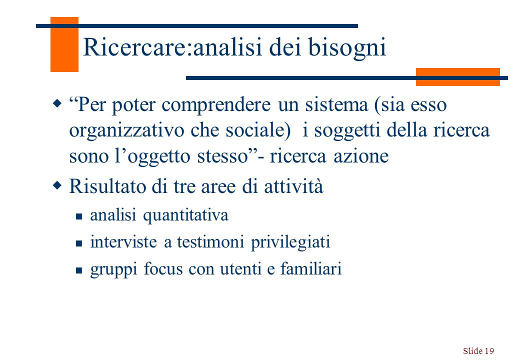 Slide 19 Ricercare:analisi dei bisogni Per poter comprendere un sistema (sia esso organizzativo che sociale) i soggetti della ricerca sono loggetto st