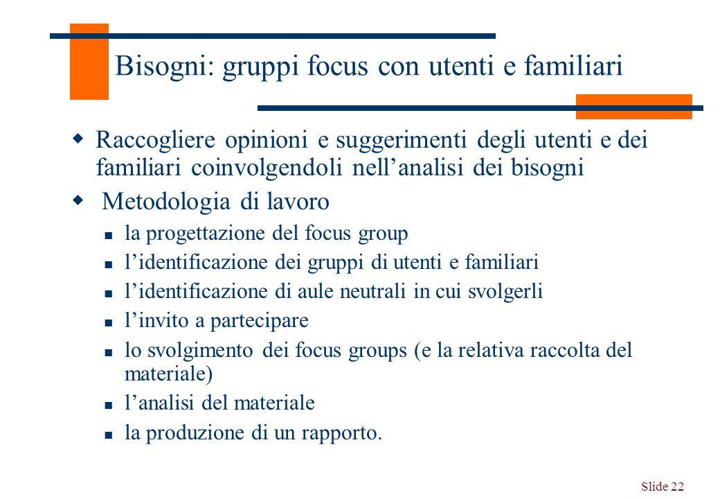 Slide 22 Bisogni: gruppi focus con utenti e familiari Raccogliere opinioni e suggerimenti degli utenti e dei familiari coinvolgendoli nellanalisi dei