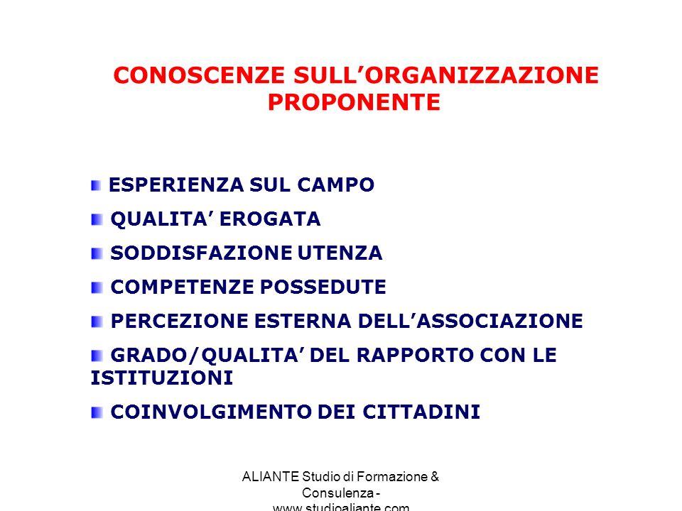 ALIANTE Studio di Formazione & Consulenza - www.studioaliante.com CONOSCENZE SULLORGANIZZAZIONE PROPONENTE ESPERIENZA SUL CAMPO QUALITA EROGATA SODDIS