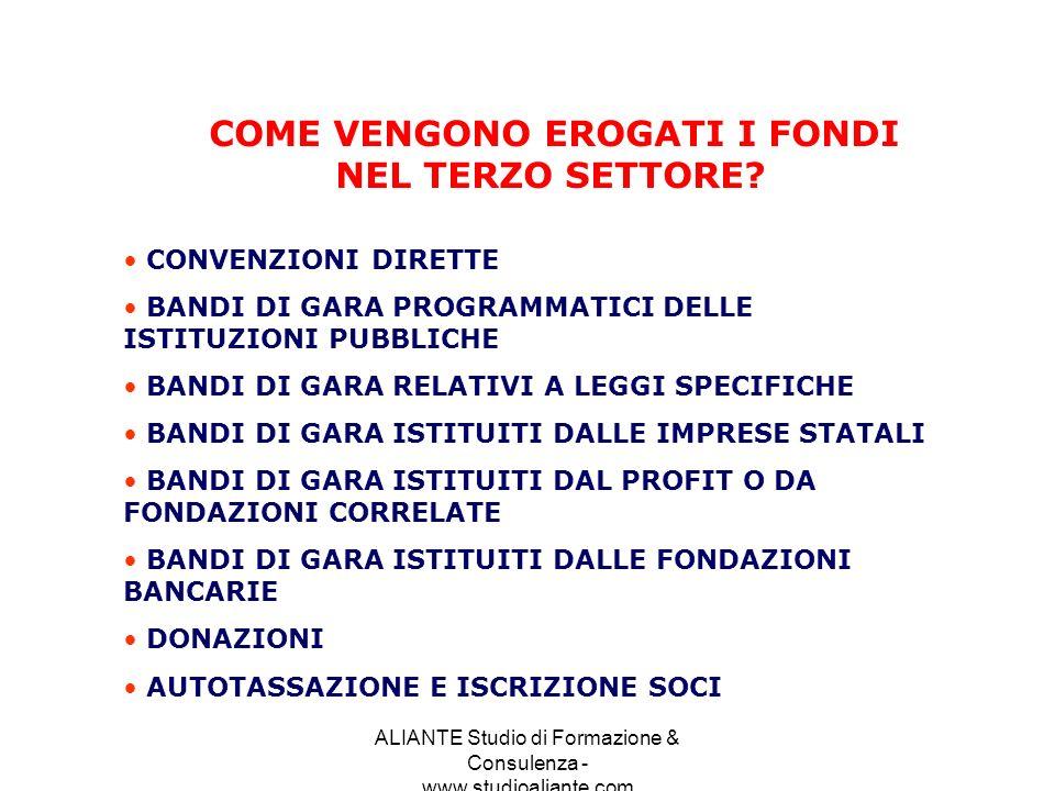 ALIANTE Studio di Formazione & Consulenza - www.studioaliante.com COME VENGONO EROGATI I FONDI NEL TERZO SETTORE? CONVENZIONI DIRETTE BANDI DI GARA PR