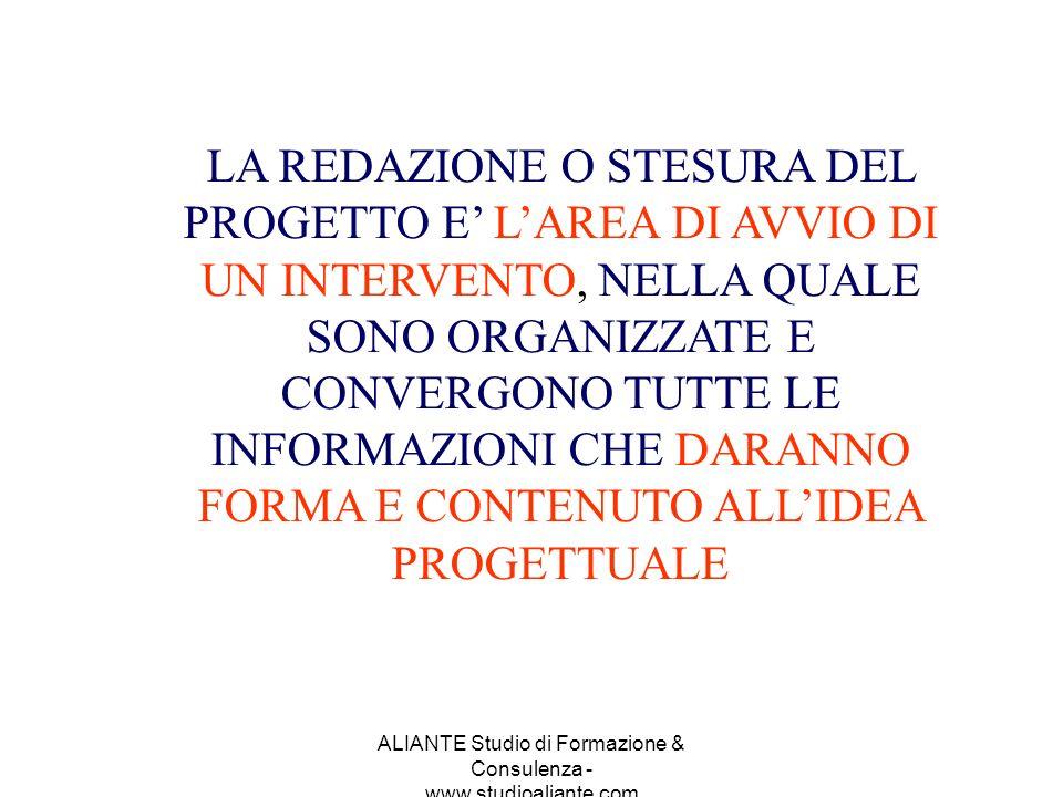 ALIANTE Studio di Formazione & Consulenza - www.studioaliante.com LA REDAZIONE O STESURA DEL PROGETTO E LAREA DI AVVIO DI UN INTERVENTO, NELLA QUALE S