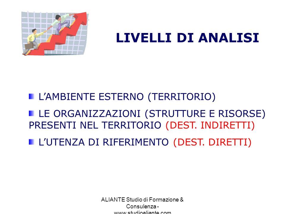 ALIANTE Studio di Formazione & Consulenza - www.studioaliante.com LIVELLI DI ANALISI LAMBIENTE ESTERNO (TERRITORIO) LE ORGANIZZAZIONI (STRUTTURE E RIS