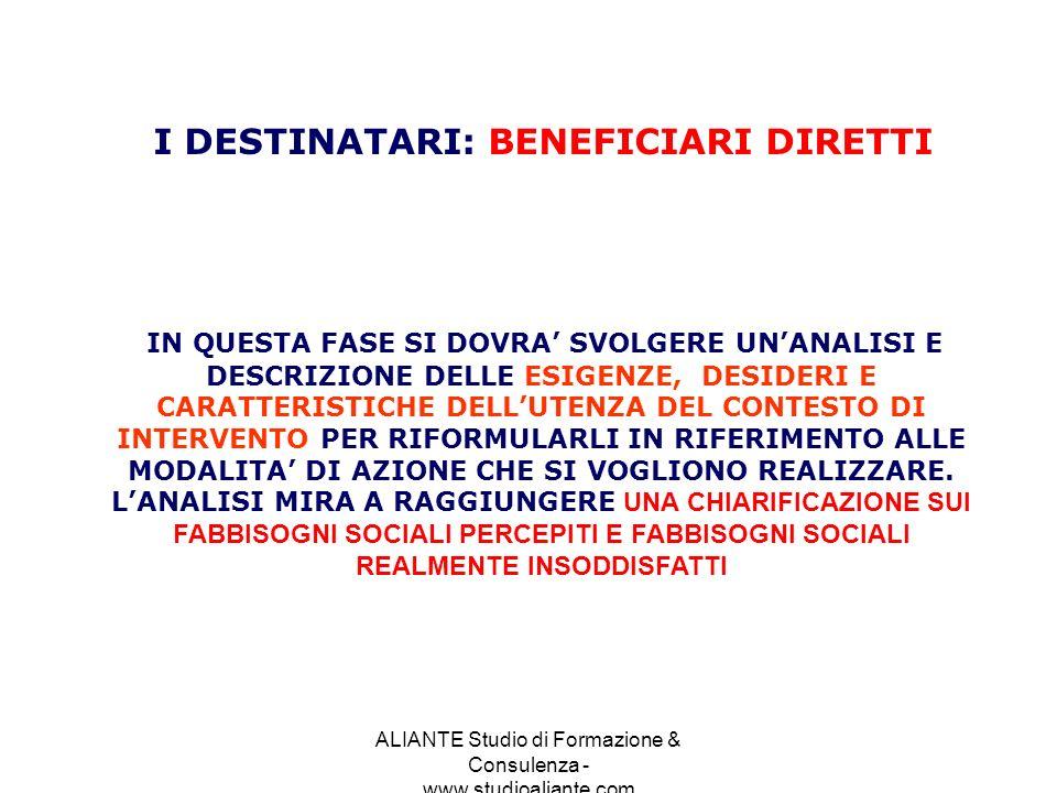 ALIANTE Studio di Formazione & Consulenza - www.studioaliante.com IN QUESTA FASE SI DOVRA SVOLGERE UNANALISI E DESCRIZIONE DELLE ESIGENZE, DESIDERI E