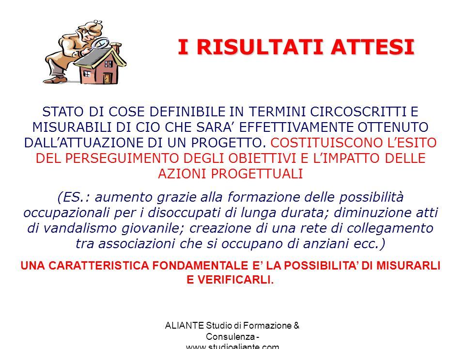 ALIANTE Studio di Formazione & Consulenza - www.studioaliante.com STATO DI COSE DEFINIBILE IN TERMINI CIRCOSCRITTI E MISURABILI DI CIO CHE SARA EFFETT