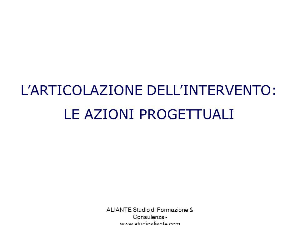 ALIANTE Studio di Formazione & Consulenza - www.studioaliante.com LARTICOLAZIONE DELLINTERVENTO: LE AZIONI PROGETTUALI