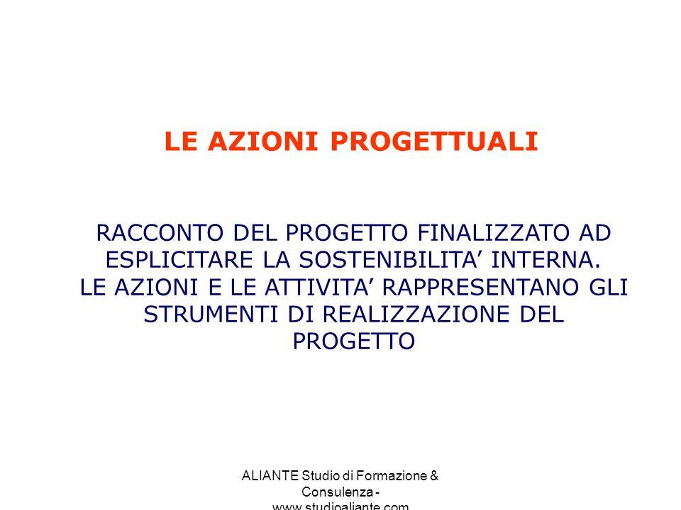 ALIANTE Studio di Formazione & Consulenza - www.studioaliante.com LE AZIONI PROGETTUALI RACCONTO DEL PROGETTO FINALIZZATO AD ESPLICITARE LA SOSTENIBIL