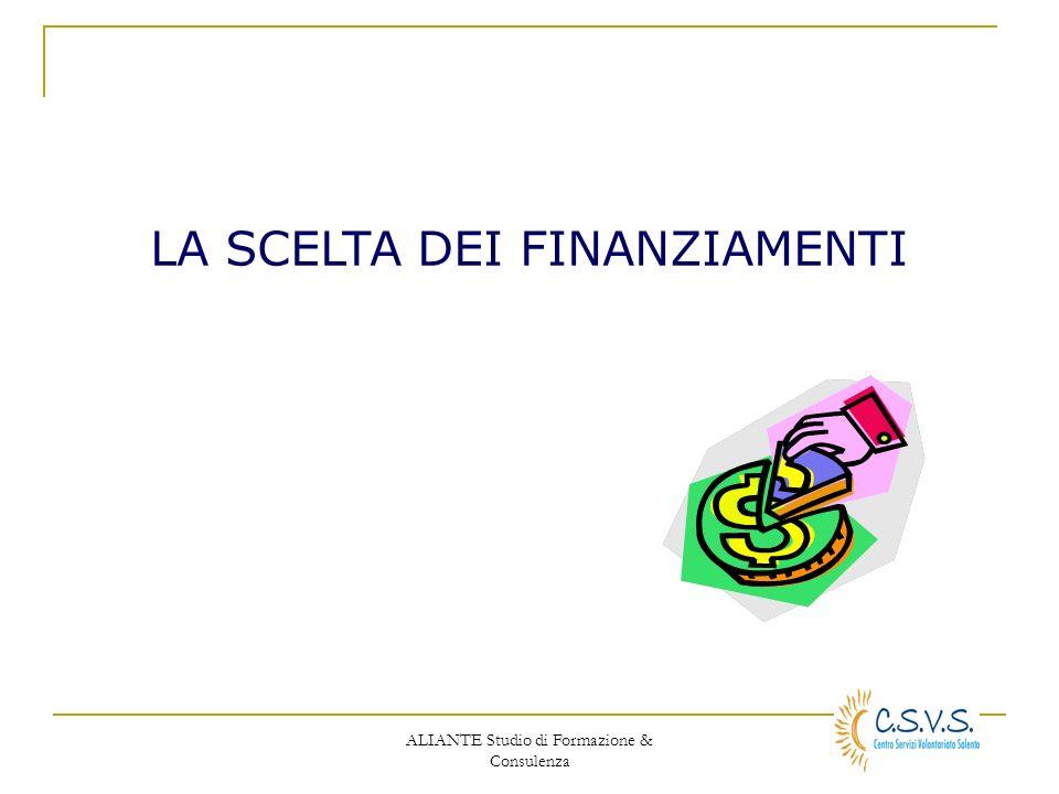 ALIANTE Studio di Formazione & Consulenza LA SCELTA DEI FINANZIAMENTI
