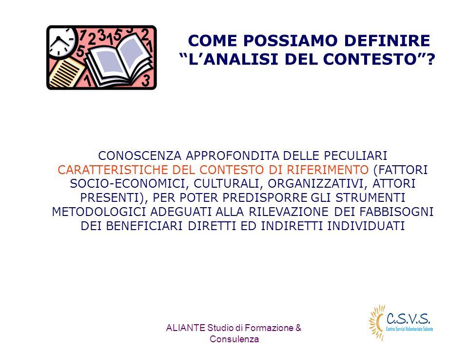 ALIANTE Studio di Formazione & Consulenza COME POSSIAMO DEFINIRE LANALISI DEL CONTESTO.