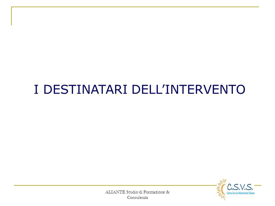 ALIANTE Studio di Formazione & Consulenza I DESTINATARI DELLINTERVENTO