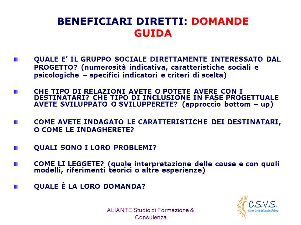 ALIANTE Studio di Formazione & Consulenza QUALE E IL GRUPPO SOCIALE DIRETTAMENTE INTERESSATO DAL PROGETTO.