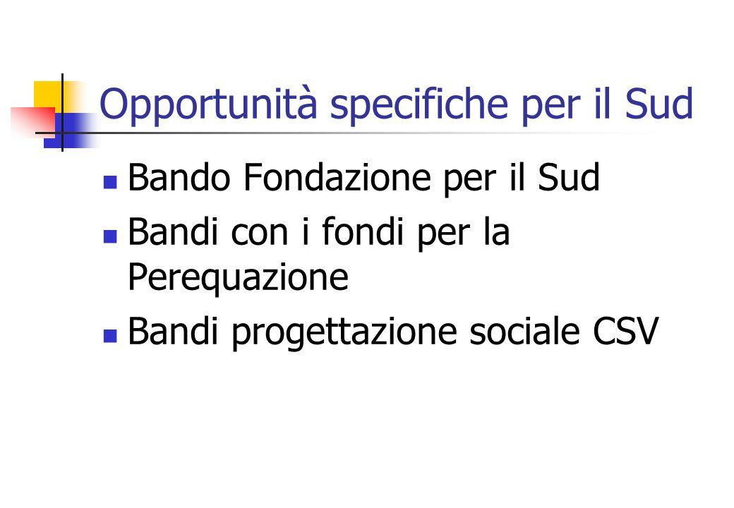 Opportunità specifiche per il Sud Bando Fondazione per il Sud Bandi con i fondi per la Perequazione Bandi progettazione sociale CSV
