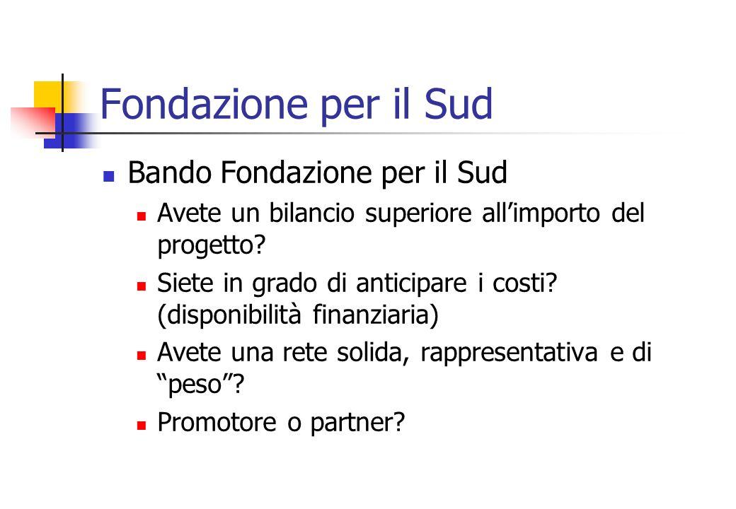 Fondazione per il Sud Bando Fondazione per il Sud Avete un bilancio superiore allimporto del progetto.