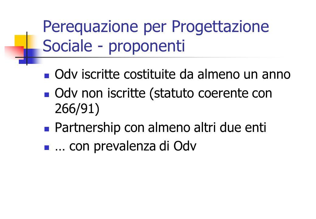 Perequazione per Progettazione Sociale - proponenti Odv iscritte costituite da almeno un anno Odv non iscritte (statuto coerente con 266/91) Partnership con almeno altri due enti … con prevalenza di Odv