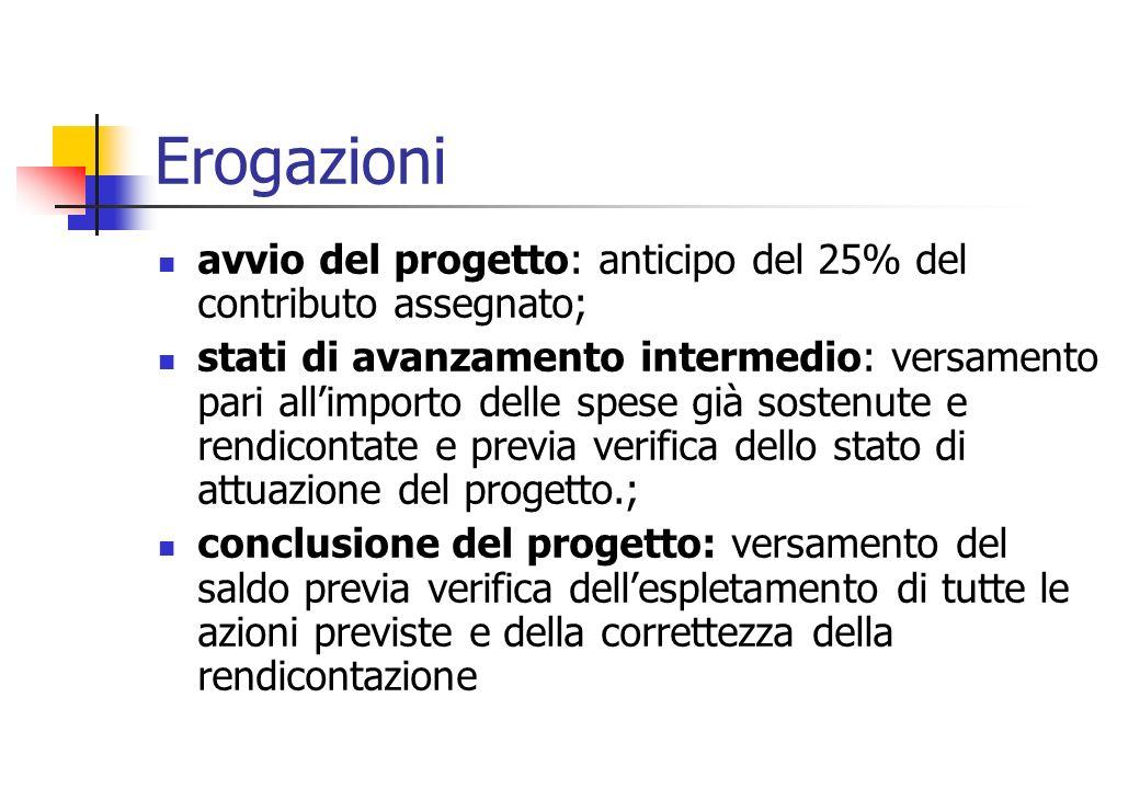 Erogazioni avvio del progetto: anticipo del 25% del contributo assegnato; stati di avanzamento intermedio: versamento pari allimporto delle spese già