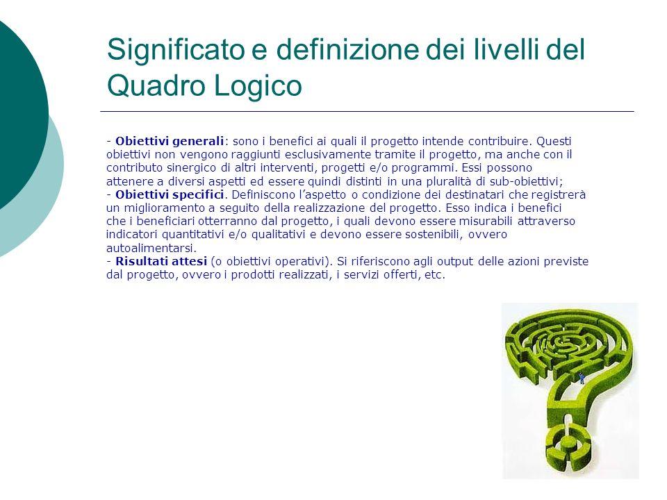 Significato e definizione dei livelli del Quadro Logico - Obiettivi generali: sono i benefici ai quali il progetto intende contribuire. Questi obietti