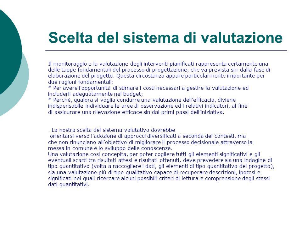 Scelta del sistema di valutazione Il monitoraggio e la valutazione degli interventi pianificati rappresenta certamente una delle tappe fondamentali de