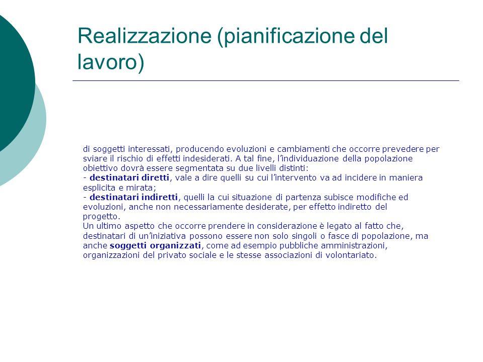 Realizzazione (pianificazione del lavoro) di soggetti interessati, producendo evoluzioni e cambiamenti che occorre prevedere per sviare il rischio di