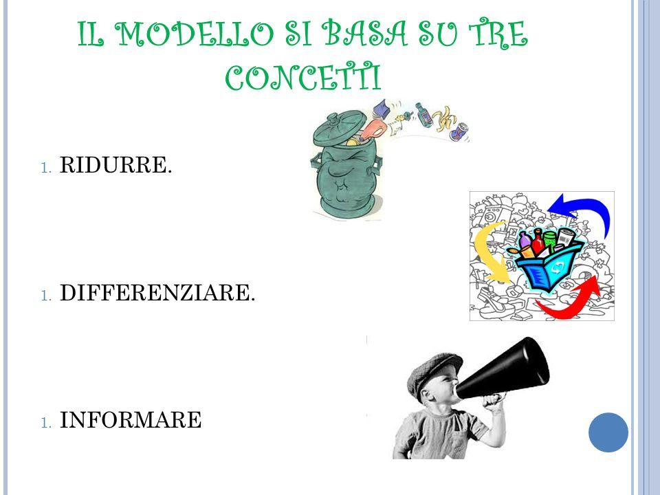 IL MODELLO SI BASA SU TRE CONCETTI 1. RIDURRE. 1. DIFFERENZIARE. 1. INFORMARE