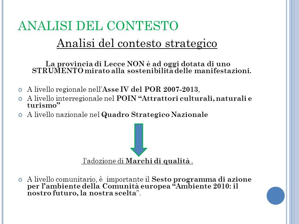 ANALISI DEL CONTESTO Analisi del contesto strategico La provincia di Lecce NON è ad oggi dotata di uno STRUMENTO mirato alla sostenibilità delle manif