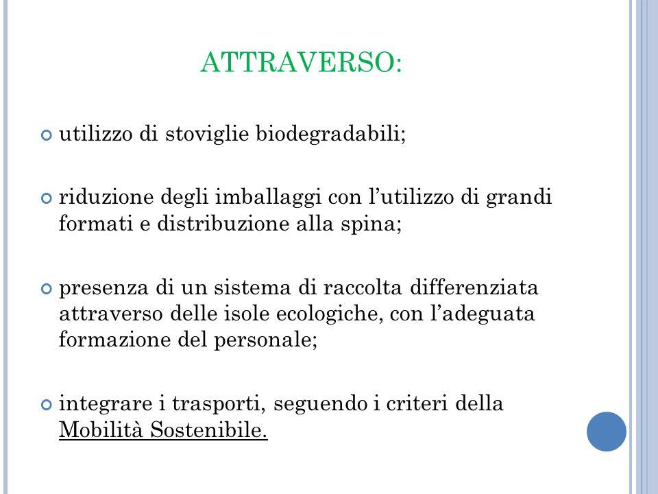 ATTRAVERSO: utilizzo di stoviglie biodegradabili; riduzione degli imballaggi con lutilizzo di grandi formati e distribuzione alla spina; presenza di u
