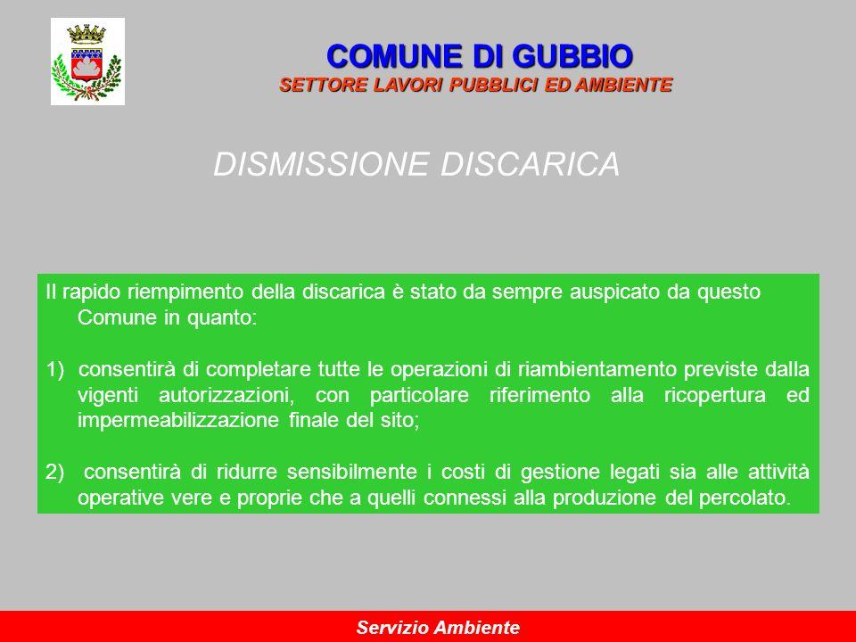 DISMISSIONE DISCARICA COMUNE DI GUBBIO SETTORE LAVORI PUBBLICI ED AMBIENTE Servizio Ambiente Il rapido riempimento della discarica è stato da sempre a