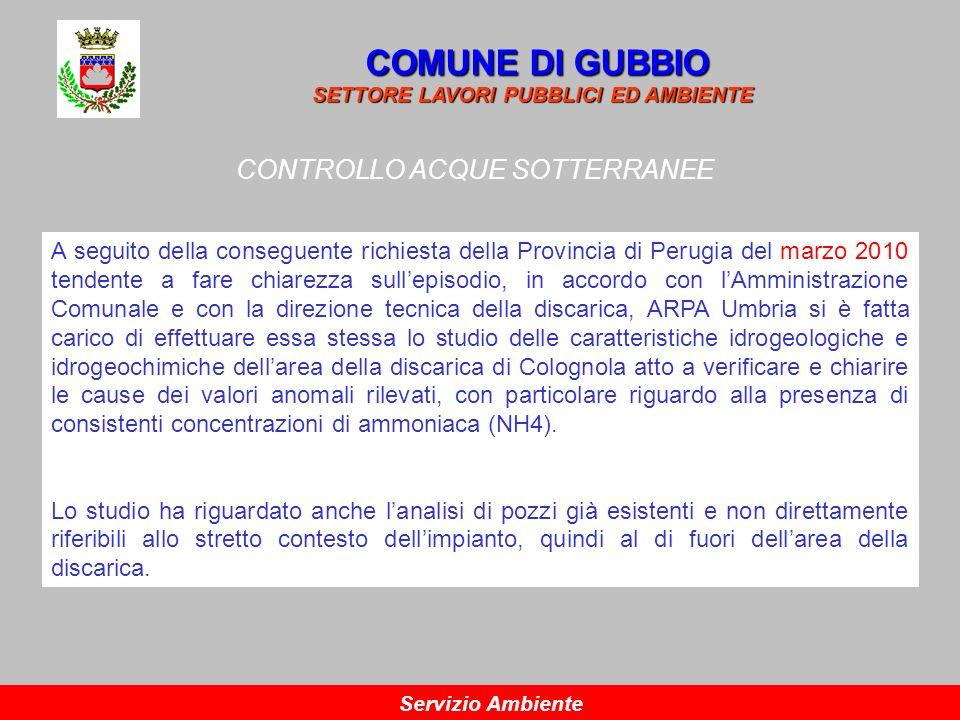 CONTROLLO ACQUE SOTTERRANEE COMUNE DI GUBBIO SETTORE LAVORI PUBBLICI ED AMBIENTE Servizio Ambiente A seguito della conseguente richiesta della Provinc