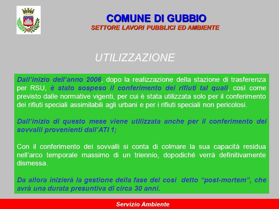 UTILIZZAZIONE COMUNE DI GUBBIO SETTORE LAVORI PUBBLICI ED AMBIENTE Servizio Ambiente Dallinizio dellanno 2006, dopo la realizzazione della stazione di