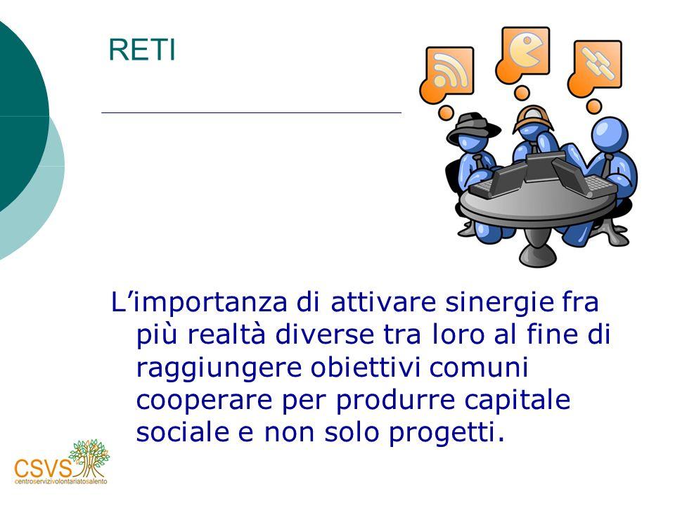 RETI Limportanza di attivare sinergie fra più realtà diverse tra loro al fine di raggiungere obiettivi comuni cooperare per produrre capitale sociale e non solo progetti.