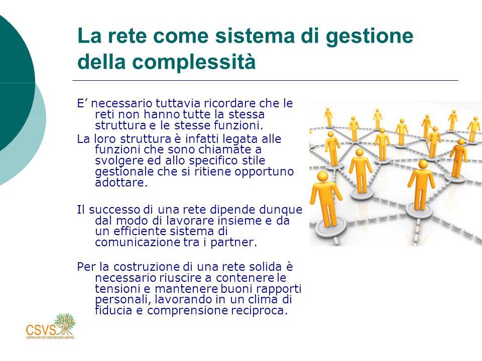 La rete come sistema di gestione della complessità E necessario tuttavia ricordare che le reti non hanno tutte la stessa struttura e le stesse funzioni.