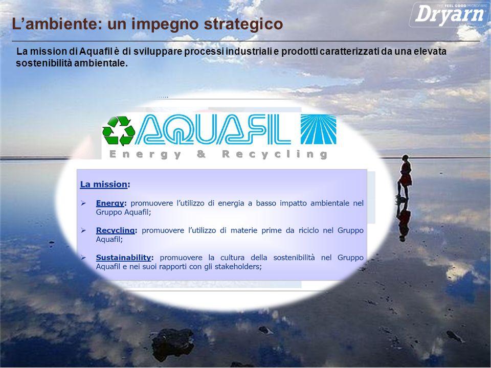 Pagina 11 Lambiente: un impegno strategico La mission di Aquafil è di sviluppare processi industriali e prodotti caratterizzati da una elevata sosteni