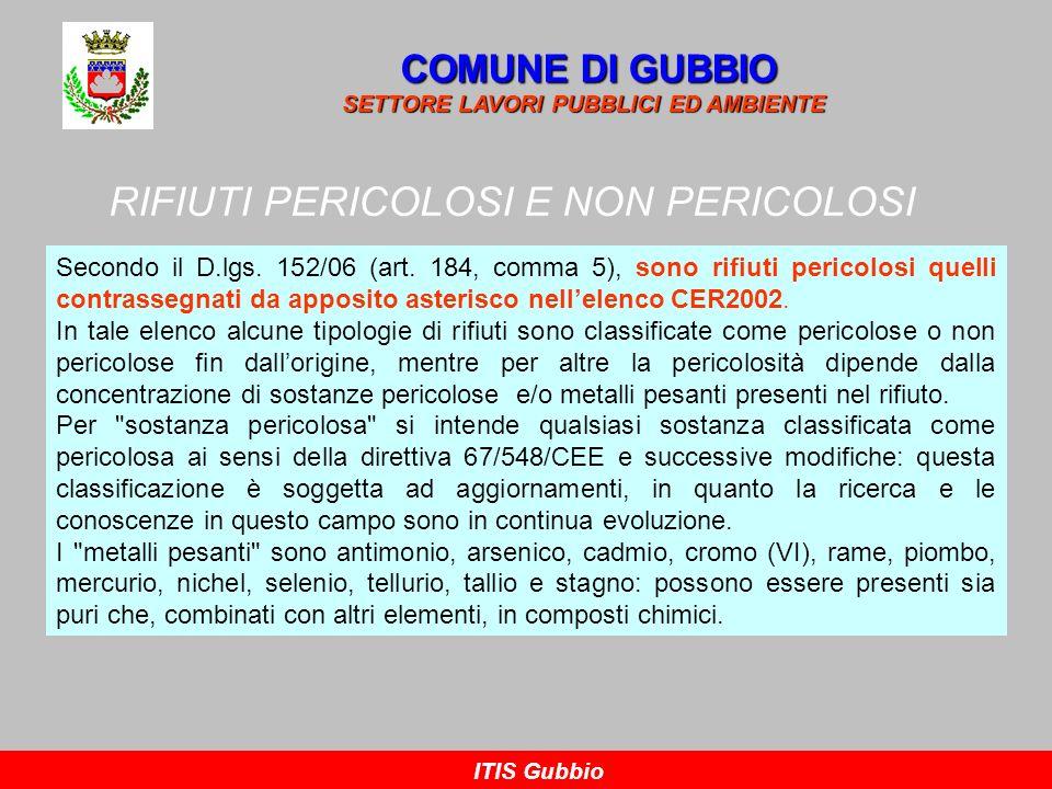 RIFIUTI PERICOLOSI E NON PERICOLOSI COMUNE DI GUBBIO SETTORE LAVORI PUBBLICI ED AMBIENTE ITIS Gubbio Secondo il D.lgs. 152/06 (art. 184, comma 5), son