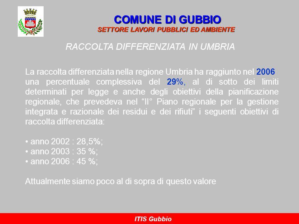 RACCOLTA DIFFERENZIATA IN UMBRIA COMUNE DI GUBBIO SETTORE LAVORI PUBBLICI ED AMBIENTE ITIS Gubbio La raccolta differenziata nella regione Umbria ha ra