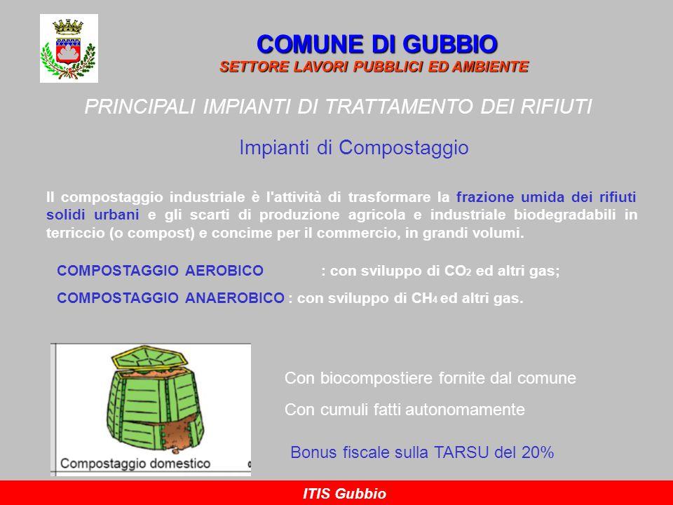 COMUNE DI GUBBIO SETTORE LAVORI PUBBLICI ED AMBIENTE ITIS Gubbio PRINCIPALI IMPIANTI DI TRATTAMENTO DEI RIFIUTI Impianti di Compostaggio Il compostagg