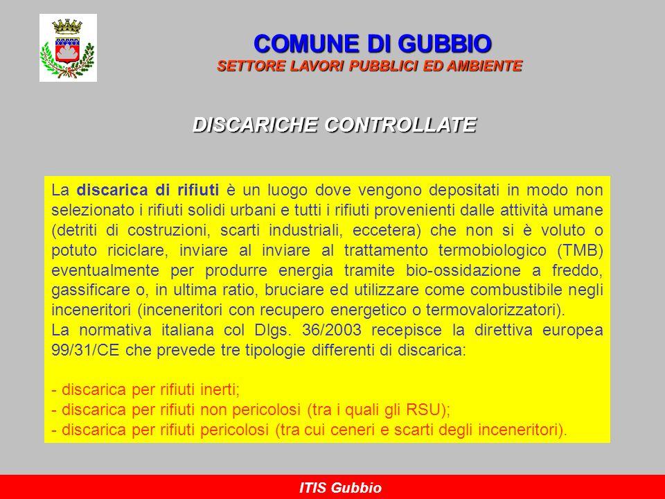 COMUNE DI GUBBIO SETTORE LAVORI PUBBLICI ED AMBIENTE ITIS Gubbio DISCARICHE CONTROLLATE PERCOLATO (da depurare) BIOGAS