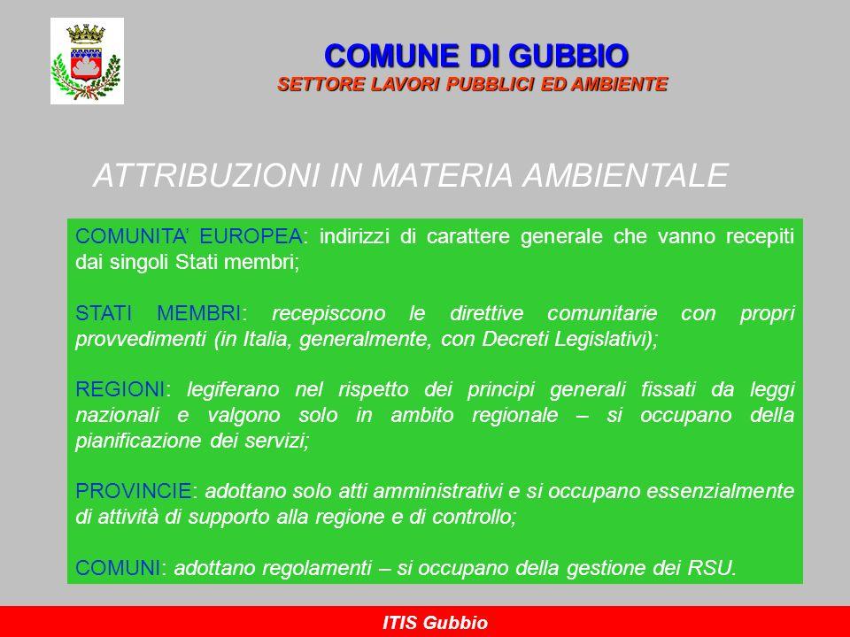 NOZIONE DI RIFIUTO COMUNE DI GUBBIO SETTORE LAVORI PUBBLICI ED AMBIENTE ITIS Gubbio La normativa italiana, all art 183 del D.lgs n.