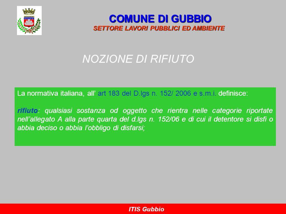 NOZIONE DI RIFIUTO COMUNE DI GUBBIO SETTORE LAVORI PUBBLICI ED AMBIENTE ITIS Gubbio La normativa italiana, all art 183 del D.lgs n. 152/ 2006 e s.m.i.
