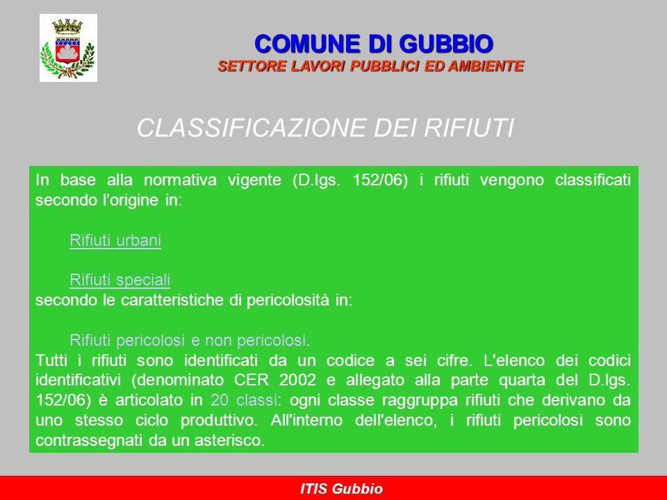 CLASSIFICAZIONE DEI RIFIUTI COMUNE DI GUBBIO SETTORE LAVORI PUBBLICI ED AMBIENTE ITIS Gubbio In base alla normativa vigente (D.lgs. 152/06) i rifiuti