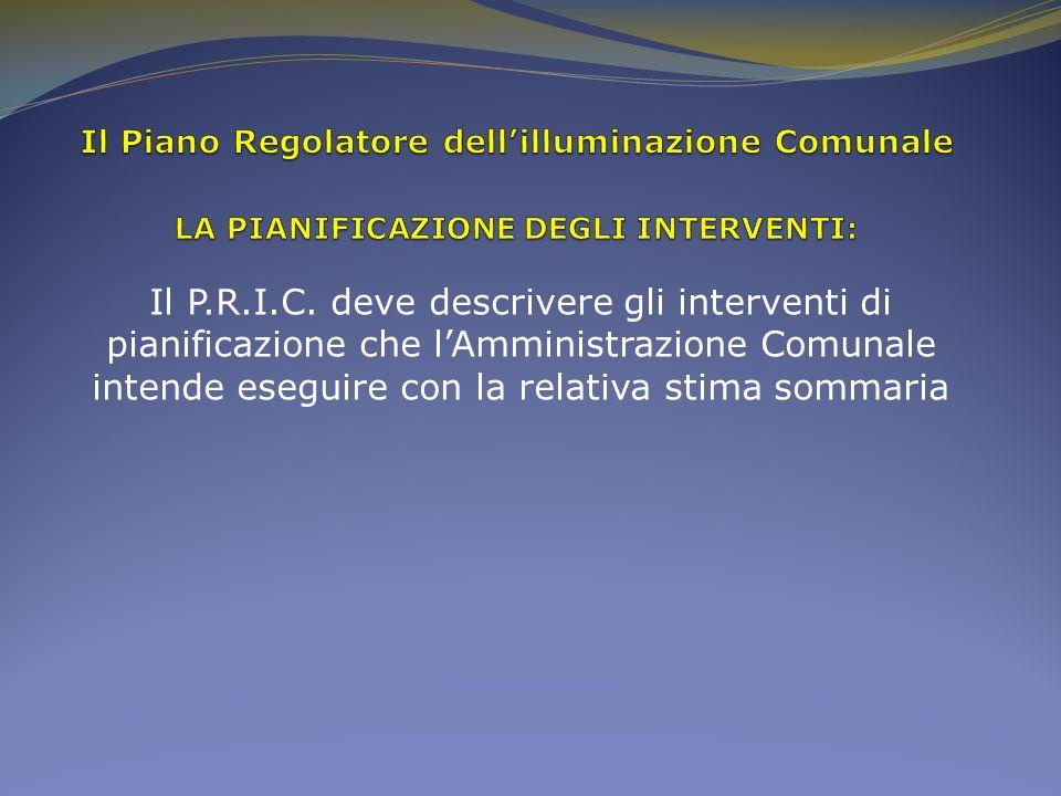 Il P.R.I.C. deve descrivere gli interventi di pianificazione che lAmministrazione Comunale intende eseguire con la relativa stima sommaria