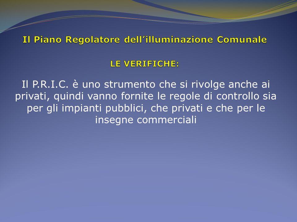 Il P.R.I.C. è uno strumento che si rivolge anche ai privati, quindi vanno fornite le regole di controllo sia per gli impianti pubblici, che privati e