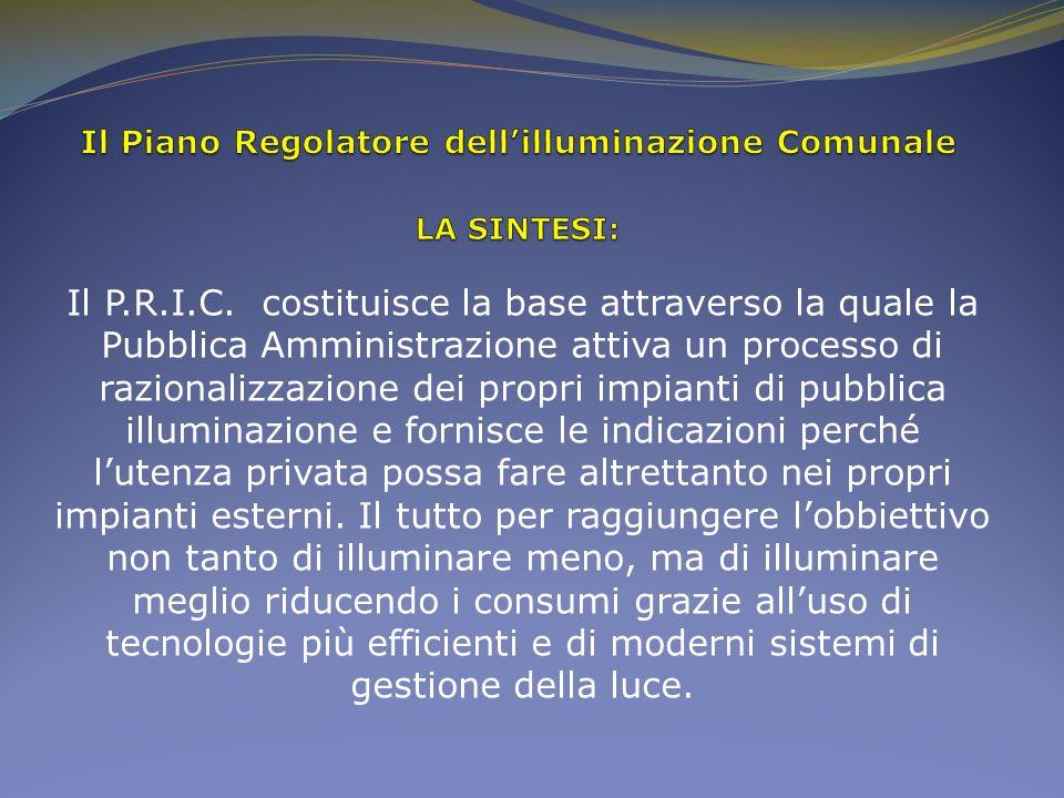 Il P.R.I.C. costituisce la base attraverso la quale la Pubblica Amministrazione attiva un processo di razionalizzazione dei propri impianti di pubblic