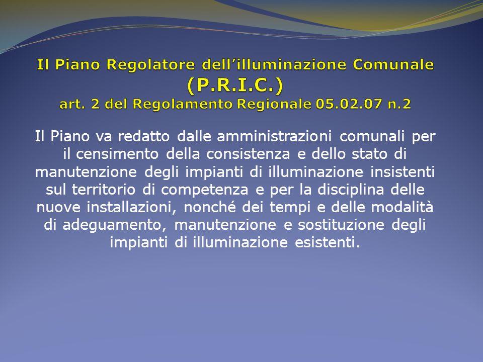 Il Piano va redatto dalle amministrazioni comunali per il censimento della consistenza e dello stato di manutenzione degli impianti di illuminazione i