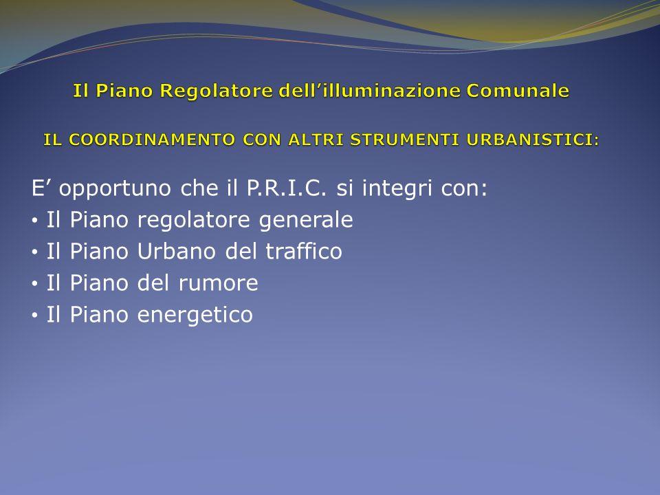 E opportuno che il P.R.I.C. si integri con: Il Piano regolatore generale Il Piano Urbano del traffico Il Piano del rumore Il Piano energetico