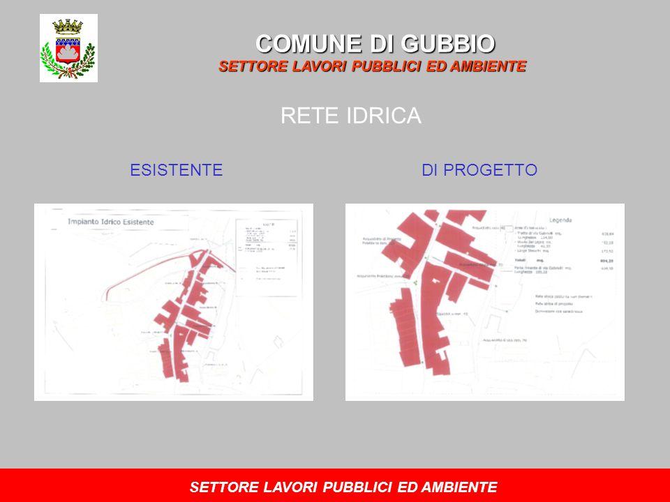 COMUNE DI GUBBIO SETTORE LAVORI PUBBLICI ED AMBIENTE RETE IDRICA ESISTENTEDI PROGETTO