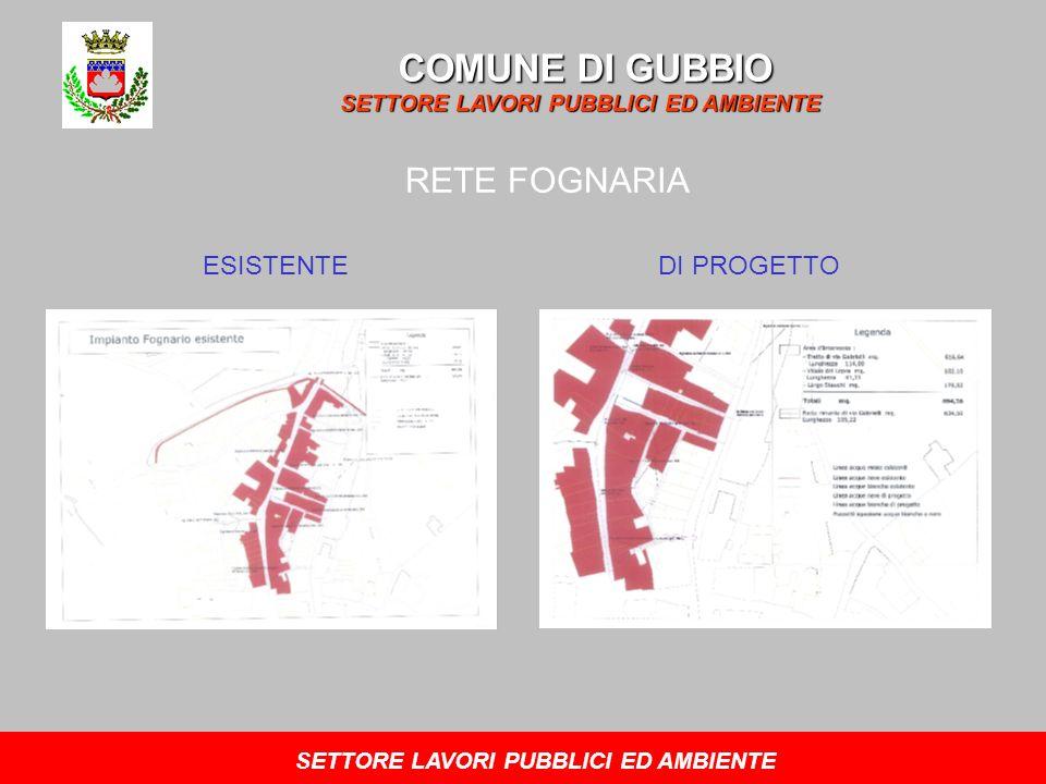 COMUNE DI GUBBIO SETTORE LAVORI PUBBLICI ED AMBIENTE RETE FOGNARIA ESISTENTEDI PROGETTO