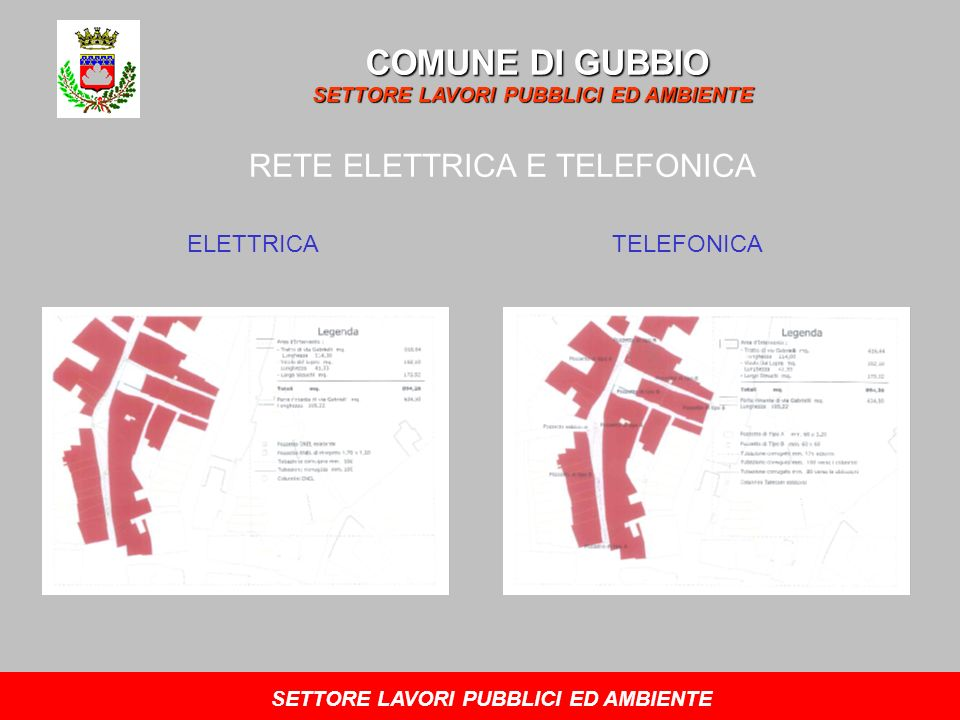 COMUNE DI GUBBIO SETTORE LAVORI PUBBLICI ED AMBIENTE RETE ELETTRICA E TELEFONICA ELETTRICATELEFONICA