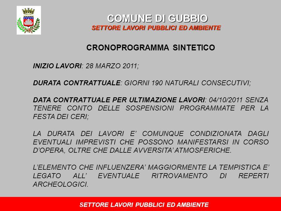 COMUNE DI GUBBIO SETTORE LAVORI PUBBLICI ED AMBIENTE CRONOPROGRAMMA SINTETICO INIZIO LAVORI: 28 MARZO 2011; DURATA CONTRATTUALE: GIORNI 190 NATURALI CONSECUTIVI; DATA CONTRATTUALE PER ULTIMAZIONE LAVORI: 04/10/2011 SENZA TENERE CONTO DELLE SOSPENSIONI PROGRAMMATE PER LA FESTA DEI CERI; LA DURATA DEI LAVORI E COMUNQUE CONDIZIONATA DAGLI EVENTUALI IMPREVISTI CHE POSSONO MANIFESTARSI IN CORSO DOPERA, OLTRE CHE DALLE AVVERSITA ATMOSFERICHE.