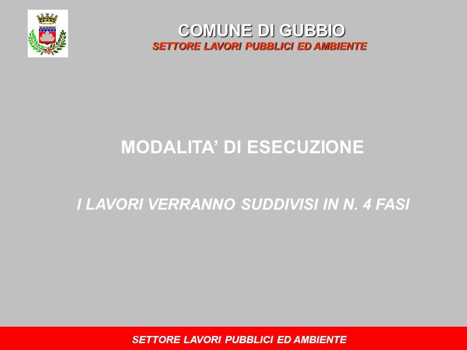 COMUNE DI GUBBIO SETTORE LAVORI PUBBLICI ED AMBIENTE MODALITA DI ESECUZIONE I LAVORI VERRANNO SUDDIVISI IN N. 4 FASI