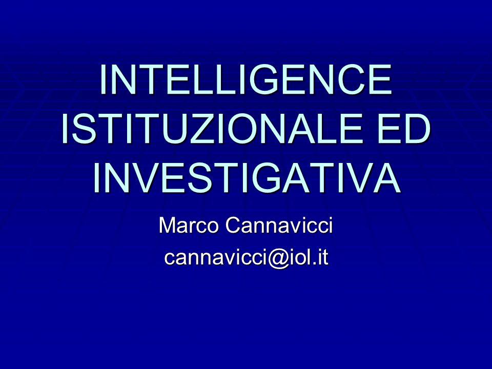 INTELLIGENCE ISTITUZIONALE ED INVESTIGATIVA Marco Cannavicci cannavicci@iol.it