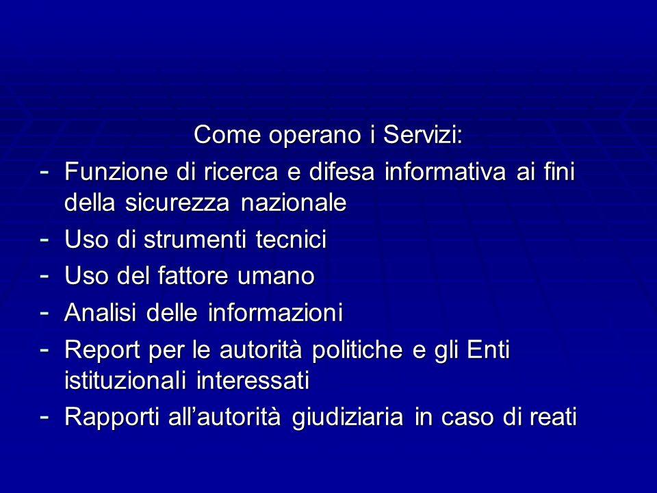 Come operano i Servizi: - Funzione di ricerca e difesa informativa ai fini della sicurezza nazionale - Uso di strumenti tecnici - Uso del fattore uman
